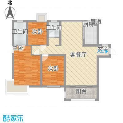 唐荣天润新城116.00㎡2、3#D户型3室2厅2卫