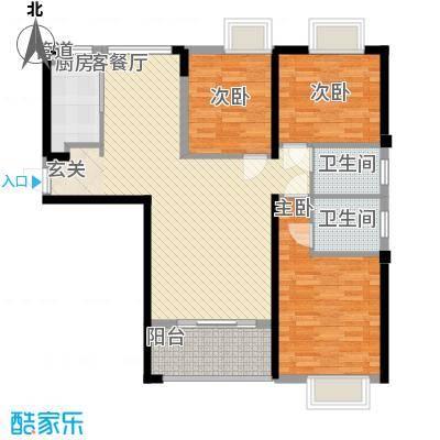 唐荣天润新城111.00㎡1#B户型3室2厅2卫