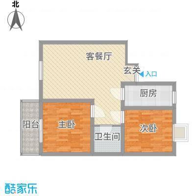 蔺高佳苑86.57㎡B1户型2室2厅1卫1厨