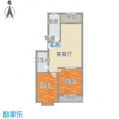 龙昌滨河源8.30㎡3B户型2室2厅1卫1厨