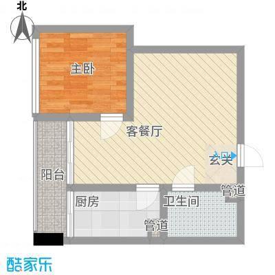 天奇渝中世纪47.34㎡B4型户型1室1厅1卫1厨