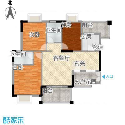 国香金湾雅苑124.40㎡E户型3室2厅