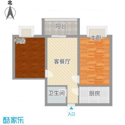 冠宇花园77.00㎡户型2室2厅1卫1厨