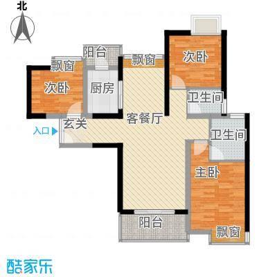 长安万达广场111.00㎡2栋、4-8栋标准C1户型3室2厅2卫1厨