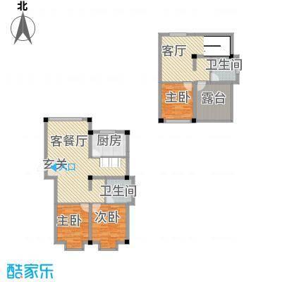 佳弘・中央公馆13.00㎡14#楼6跃7户型3室3厅2卫1厨