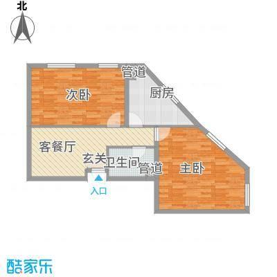 翰香府户型2室1厅1卫1厨