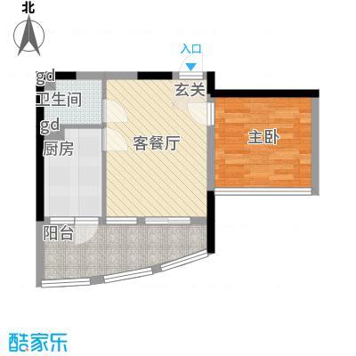 我平方45.15㎡1号楼11号房户型1室1厅1卫1厨