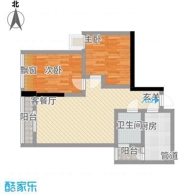我平方64.51㎡2号楼2号房户型2室2厅1卫1厨