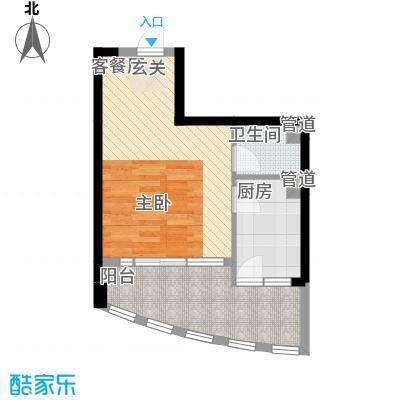 我平方37.40㎡1号楼12号房户型1室1厅1卫1厨