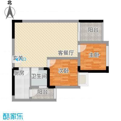 南湖明珠15户型2室2厅1卫1厨