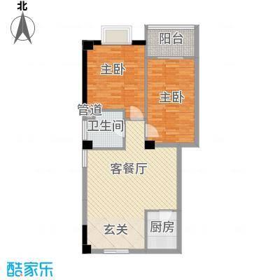 彩虹湾佳园8.57㎡二期4#楼2-9层A1户型2室1厅1卫1厨