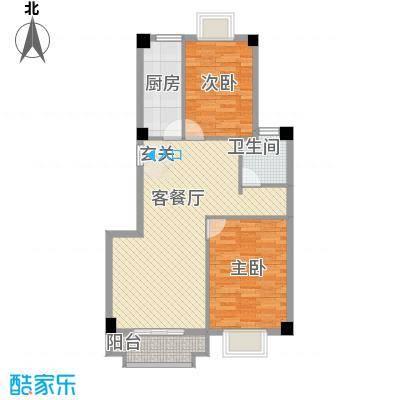 未来海岸系凌波5.41㎡1#楼02单元户型2室2厅1卫1厨