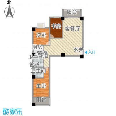 海上明珠家园124.85㎡2单元01户型3室2厅2卫1厨