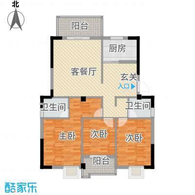 汉景嘉园128.00㎡C户型3室2厅2卫1厨