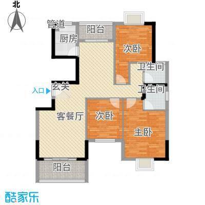 建设大厦户型3室2厅2卫1厨