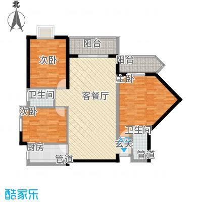 禹洲环东国际8#、9#楼03、09单元户型3室2厅2卫1厨
