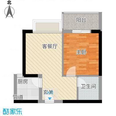 禹洲环东国际户型1室1厅1卫1厨