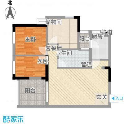 龙光峰景华庭88.53㎡8栋A座首层02单元户型3室2厅1卫1厨