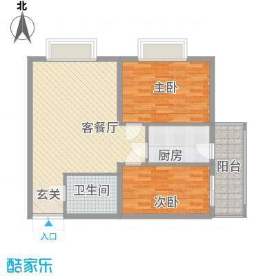 南环国际名邸1-01户型2室1厅1卫