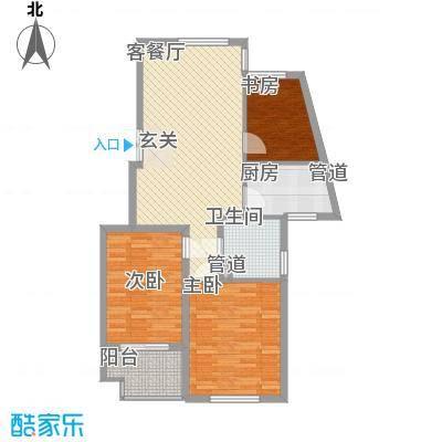 万隆公寓30户型3室2厅2卫1厨