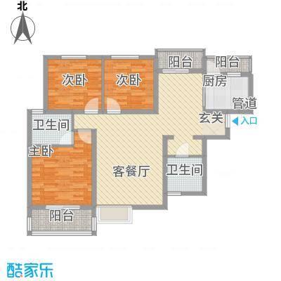 东岭欣城11.10㎡B1户型3室2厅2卫1厨