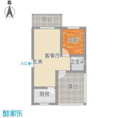 蔺高佳苑67.12㎡B3-1户型1室2厅1卫1厨