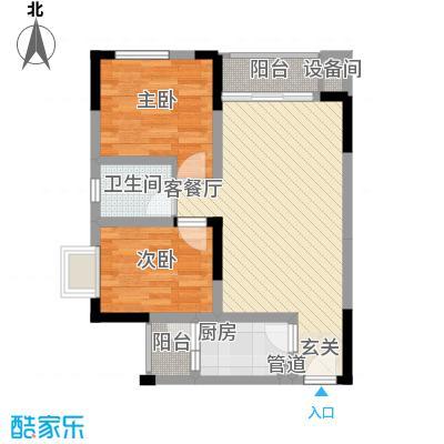 锦绣世家58.00㎡一期1号楼标准层A1户型2室2厅2卫1厨