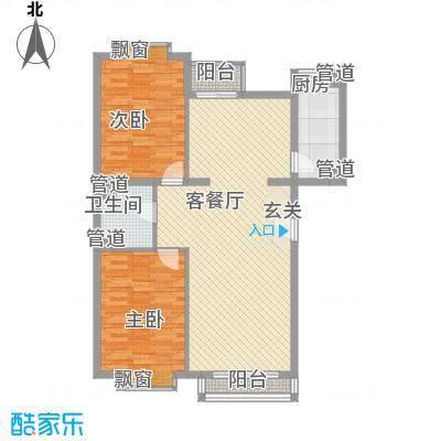 泰华滨河苑112.00㎡2#楼4-1户型2室2厅1卫1厨