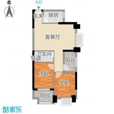 敬贤公园户型2室2厅1卫1厨