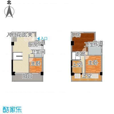 五米阳光二期74.25㎡E户型3室2厅2卫