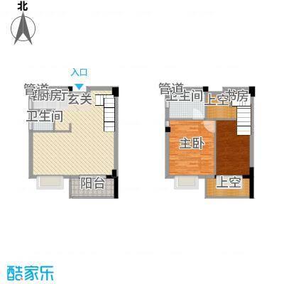五米阳光二期58.60㎡D户型2室2厅2卫