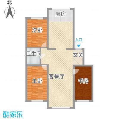 龙逸花园127.80㎡2期C组团户型3室2厅1卫