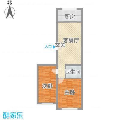 龙逸花园77.26㎡2期C组团户型2室1厅1卫
