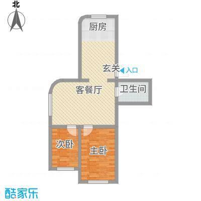 龙逸花园74.77㎡2期C组团户型2室2厅1卫