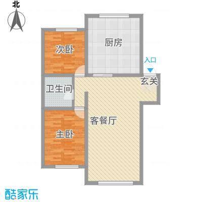 龙逸花园8.22㎡2期C组团户型2室2厅1卫