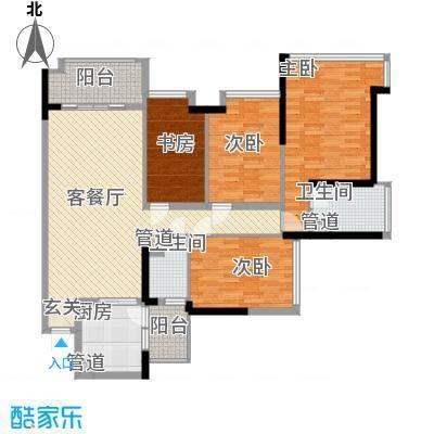 雅居乐锦官城128.10㎡D户型4室2厅2卫1厨
