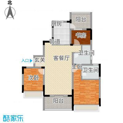 吴月雅境124.48㎡E户型3室2厅2卫1厨