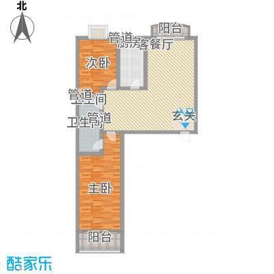 美景秀苑123.67㎡户型2室2厅2卫