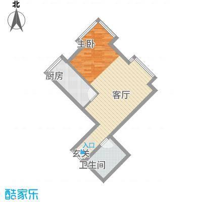 当代名筑54.60㎡15号楼A3户型1室1厅1卫1厨