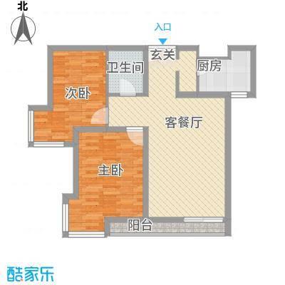 当代名筑88.44㎡15号楼B5户型2室2厅1卫1厨