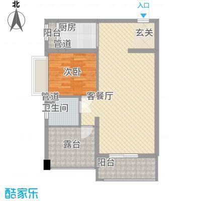 南湾江上64.43㎡一期单体楼标准层A4户型1室2厅1卫1厨