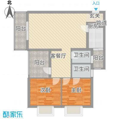南湾江上77.60㎡一期单体楼标准层A1户型2室2厅2卫1厨