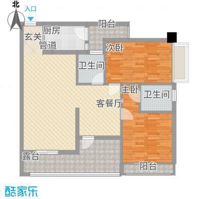 南湾江上一期单体楼标准层A5户型2室2厅2卫1厨