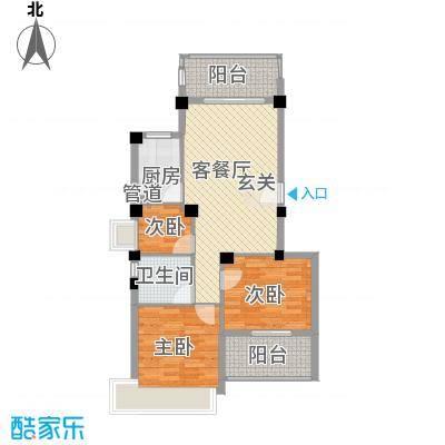 永鸿观澜国际1.45㎡Q1型花园洋房户型2室2厅1卫1厨