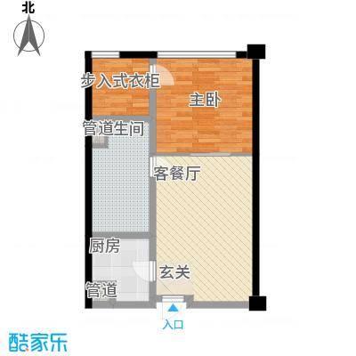 保利世贸公寓74.00㎡一期D栋4―44层C户型1室2厅1卫1厨