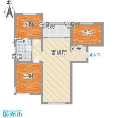 万科仕林苑112.00㎡二期高层标准层E户型3室2厅1卫1厨