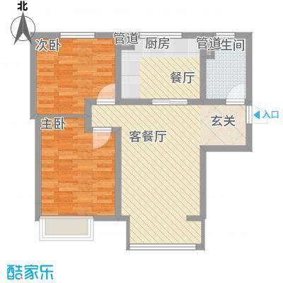 万科仕林苑88.00㎡二期29、30号楼高层标准层A户型2室2厅1卫1厨