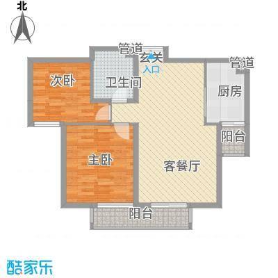 星河城六期户型2室1厅1卫1厨