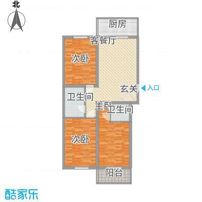 鹭江海景花园33户型3室2厅2卫1厨