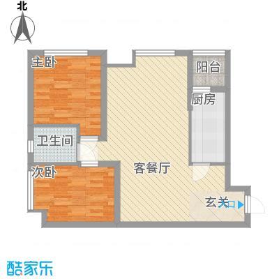 渝能明日城市66.81㎡一期R6号楼标准层B户型2室2厅1卫1厨